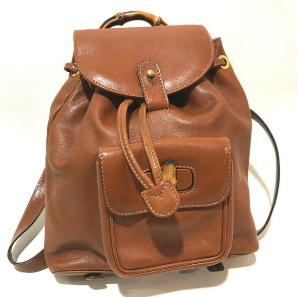 Gucci Handbags - GUCCI Bamboo Old Gucci Mini Backpack Brown Leather